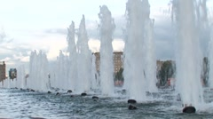Fountains at Poklonnaya Hill Stock Footage
