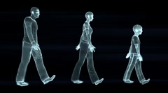 Familly walk, seamless loop, wireframe Stock Footage