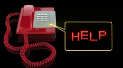 Emergency Red Phone with Help text Stock Footage