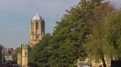 Tom Tower. Part of Christchurch College, Oxford, with trees 2 Stock Footage