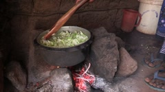 Kenya: Cooking Over an Open Fire - stock footage