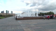 Fountains at Poklonnaya Hill Stock Footage