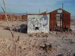 Abandoned shack at the Salton Sea Stock Footage