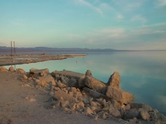 Rocks and clouds at the Salton Sea Stock Footage
