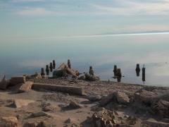 Posts at the Salton Sea Stock Footage