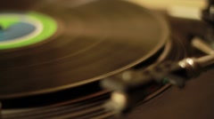 LP vinyl music disc player running play and stop Stock Footage