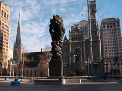 Clouds and cathedral in Philadelphia Stock Footage