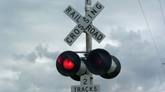 Railroad Crossing  with Red Lights Flashing Stock Footage
