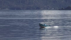 Open Skiff Planing on Bay waters Stock Footage