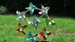 Spinning wind toy in Garden Stock Footage