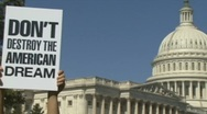 Middle class protest at Congress Stock Footage