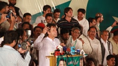 Imran Khan Addressing a Political Rally Stock Footage