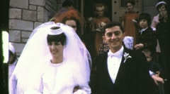 Happy Newlyweds Bride and Groom Exit Church 1960s Vintage Film Home Movie 780 Stock Footage