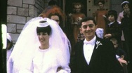 Stock Video Footage of Bride and Groom Exit Church Circa 1965 (Vintage Film 8mm Home Movie) 780