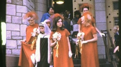 Girls Bridesmaids at the Church Wedding 1960s Vintage Film Retro Home Movie 781 Stock Footage