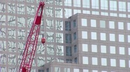 Stock Video Footage of Crane at the World Trade Center Site.