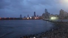Mumbai skyline at night Stock Footage