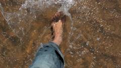 Walking in water, Crossing river by foot Stock Footage