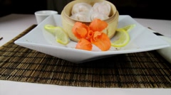 Stock Video Footage of Siomai with garnish