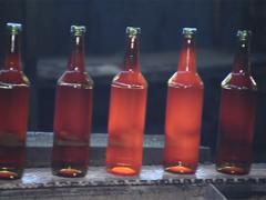 Bottles already bloated from glass moves on the platform. Stock Footage