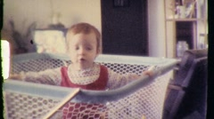 Cute Toddler Baby Boy Crib Playpen Caged Animal 70s Vintage Film Home Movie 797 Stock Footage