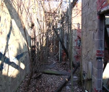 Upstairs hallway at the abandoned Lambertville High School Stock Footage