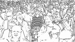Crowd of people. Monochrome sketch Stock Footage
