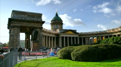 Kazan Cathedral in summer, St. Petersburg, Russia (timelapse) - stock footage
