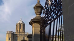 Christchurch College, Oxford, with Tom Tower. Looking past the meadow gates Stock Footage