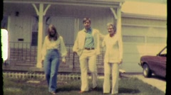 Brother, Sister and Mom Suburban Lawn Suburb 1969 \Vintage Film Home Movie 800 Stock Footage