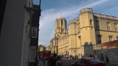 Christchurch College, Oxford, extreme wide angle. Looking up St. Aldates. Stock Footage