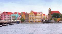 Queen Emma Pontoon Bridge Timelapse, Willemstad Curacao Stock Footage
