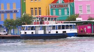 Stock Video Footage of Ferryboat in Willemstad Curacao