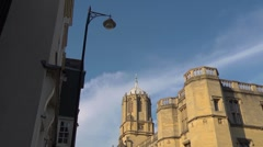 Christchurch College, Oxford, extreme wide angle. With street lamp. Stock Footage