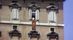 Catholic Pope Speaks St. Peters Bless Balcony 1960s Vintage Film Home Movie 806 Stock Footage