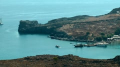 Yact in the lindos bay Stock Footage