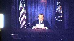 US President RICHARD NIXON RESIGNS on TV 1974 Vintage Film 8mm Home Movie 807 Stock Footage
