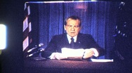 Stock Video Footage of US President Richard Nixon Resigns on TV 1974 (Vintage Film 8mm Home Movie) 808