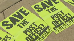 Postal workers rally to keep jobs Stock Footage
