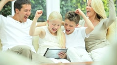Caucasian Family Playing on Wireless Tablet Stock Footage