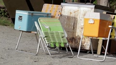 Folding Chairs and Buckets Stock Footage