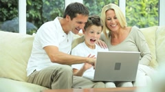 Caucasian Family   Communicating Via Online Webchat Stock Footage