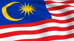 flying flag of malaysia | looped | - stock footage