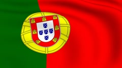 flying flag of portugal | looped | - stock footage