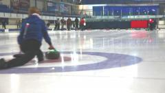 Girls play in curling - stock footage