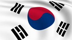 flying flag of south korea | looped | - stock footage