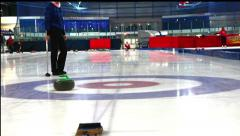 Girls play in curling Stock Footage