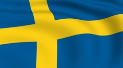 flying flag of sweden | looped | - stock footage