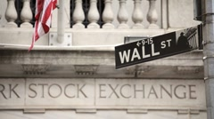 Wall Street Sign at New York Stock Exchange in Manhattan Stock Footage