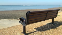 Bench Overlooking Southampton Water Stock Footage